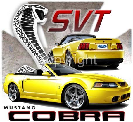 Ford Mustang Cobra SVT Convertible Licenced Tshirts