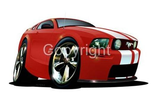 2005 Mustang Gt Red Muscle Car Cartoon Tshirt 7304 Ford On Popscreen