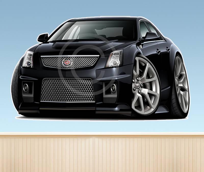 2012 Cadillac Cts V Reviews And Rating: 2011 2012 Cadillac CTS-V Sedan Cartoon WALL GRAPHIC MURAL