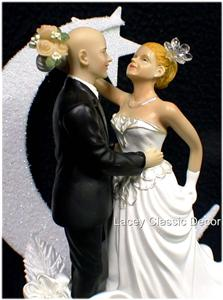 bald groom and bride wedding cake topper bald groom strawbwerry blond fair lighter hair 11050