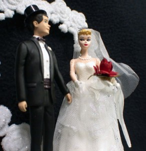1950 Style Blond Hair Barbie Ken Wedding Cake Topper