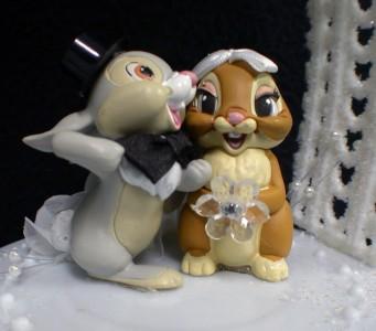 THUMPER DISNEY Wedding Cake Topper LOT Glasses server set Guest ...