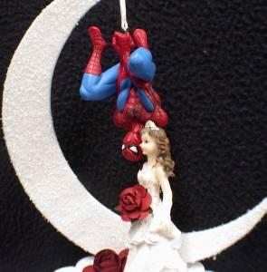 Spiderman Wedding Cake Topper Lot Glasses Knife Server