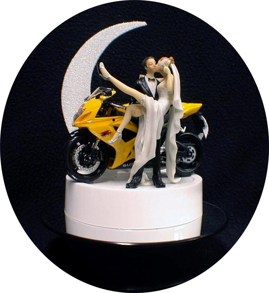 funny motorbike wedding cake topper yellow suzuki bike motorcycle wedding cake topper 14558