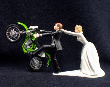 funny motorbike wedding cake topper kawasaki wedding cake topper motorcycle bike racing 14558
