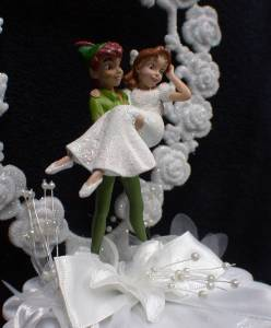 peter pan and wendy wedding cake topper pan amp wendy disney amp groom wedding cake topper 18306