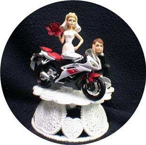 Wedding Cake Topper W Sexy Red Bike Motorcycle Yamaha