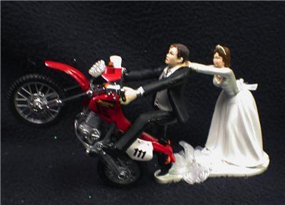 Off Road Dirt Bike Motorcycle Wedding Cake Topper Red Honda Racing Track Funny 2