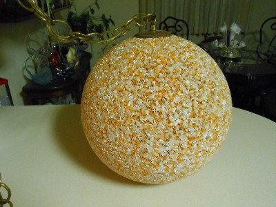 Vtg Round Hanging Melted Plastic Popcorn Confetti Swag