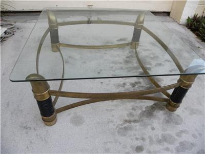 MID CENTURY ITALIAN TOMASSO BARBI FAUX TUSK BRASS COFFEE TABLE Attributed,  Super Elegant Solid Brass Coffee Table With Beveled Glass Top Very Nicely  ...