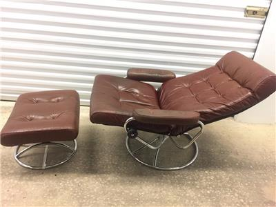 Mid Century Ekornes Norway Leather Recliner Chair