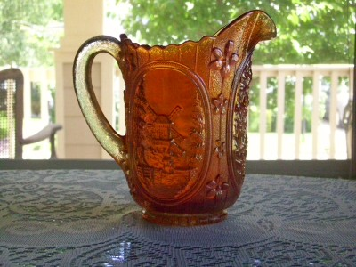 Imperial Windmill Carnival Glass Marigold Water Pitcher