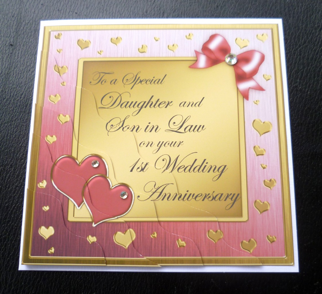 daughter  son in law 1st first wedding anniversary card