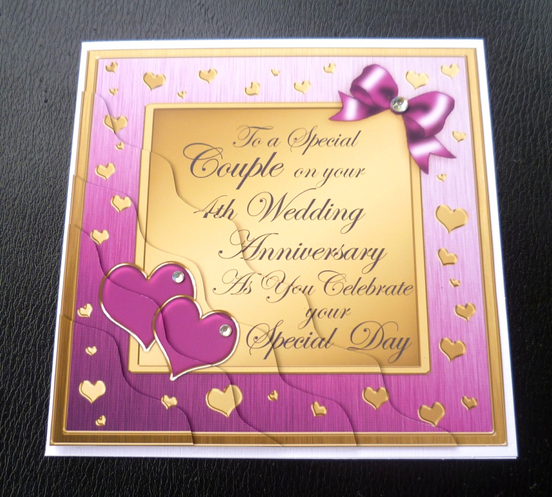 4th Wedding Anniversary: Special Couple 4th Wedding Anniversary Card - 4 Colours