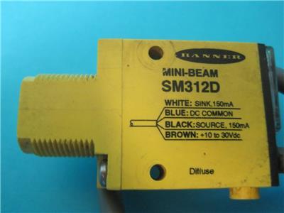 BANNER ENGINEERING SM312DQD MINI-BEAM PHOTOELECTRIC SENSOR FNOB