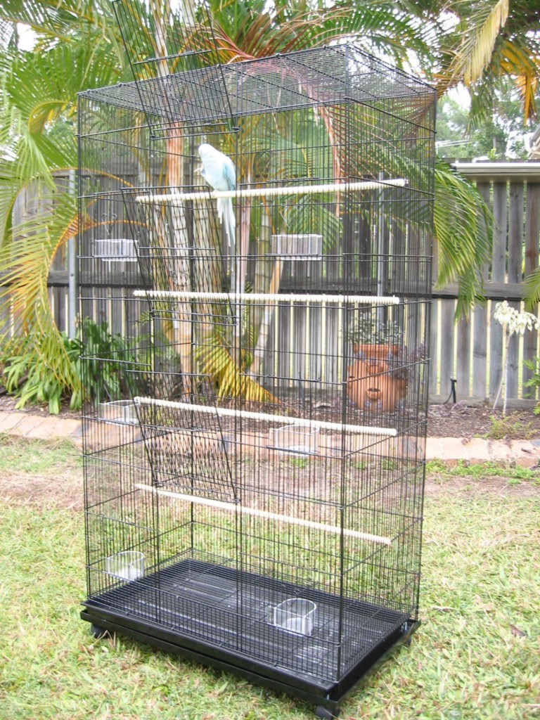 Bird Cage Parrot Aviary Pet Stand Alone Budgie Perch Castor Wheels Large Tower