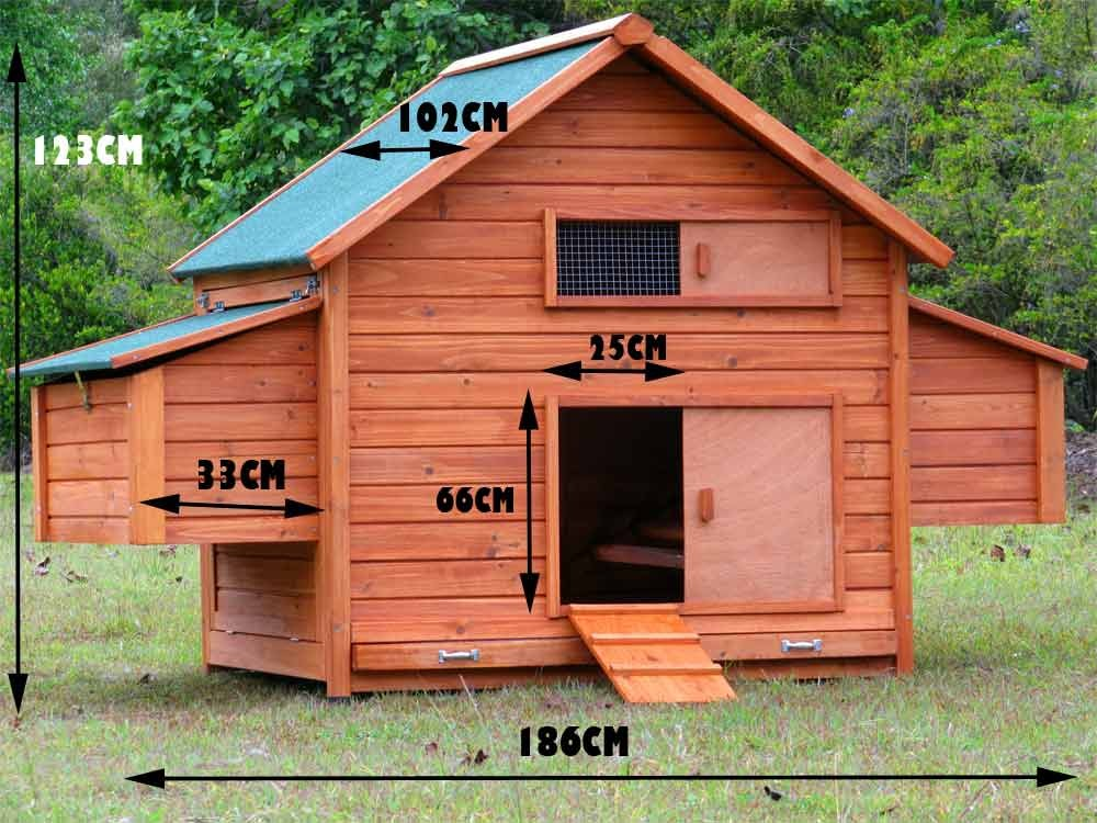 Chicken coop large chook shed hen house g210 ebay for Duck house door size