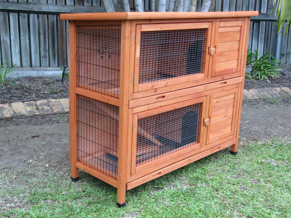 X Large Rabbit Hutch Guinea Pig Cage W 2 Pull Out Trays