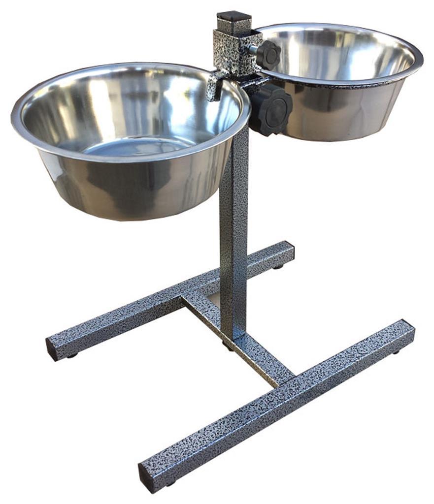 2 Pet Bowls Adjustable Height Dog Cat Food Water Dish