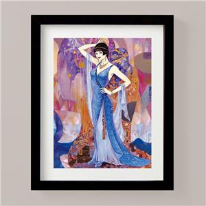 PAINTING DECO FLAPPER WOMAN CANDLESTICK TELEPHONE ART PRINT POSTER BB8420