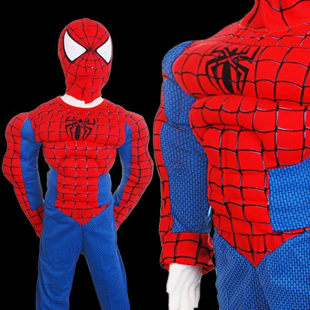 spiderman kost m mit muskeln f r kinder junge halloween ganzk rperanzug ebay. Black Bedroom Furniture Sets. Home Design Ideas