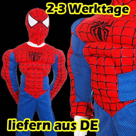 neu fasching spiderman kost m mit muskeln f r kinder halloween ganzk rperanzug ebay. Black Bedroom Furniture Sets. Home Design Ideas