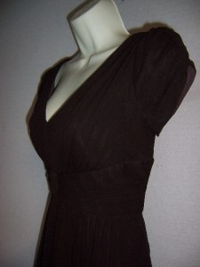 SUZI CHIN Brown Silk Chiffon V  Neck Cap Sleeve Cocktail Evening Dress