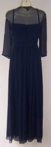 KM COLLECTIONS Navy Blue Chiffon Beaded Ruched Formal Gown Dress