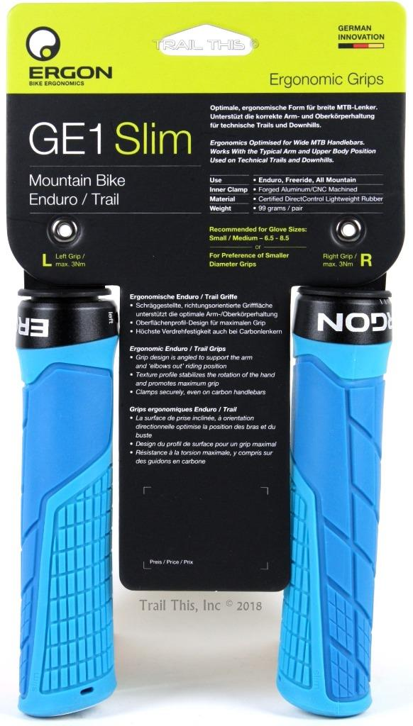 Blue Ergon GA2 Ergo Lock-On Handlebar Bike Grips for MTB Trail Hybrid