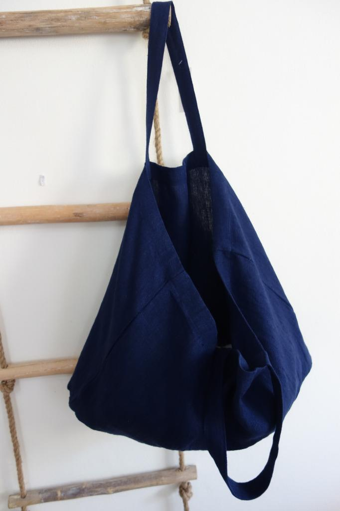 c535fed64 100% Linen Indigo Blue Market Shopping Beach Shoulder Bag Tote | eBay