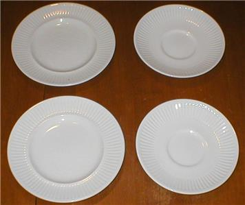 Set of 4 genuine Johnson Brothers white ironstone  Athena  pattern pieces - made in England. This collection consists of 2 dessert plates and 2 saucers ... & Set of 4 Johnson Brothers White Ironstone Pieces-2 Plates u0026 2 ...