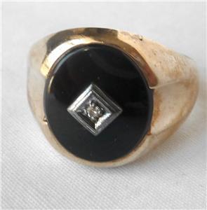 Baden Foss 10k Gold Onyx Diamond Ring