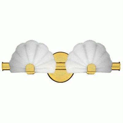 Opal sea shell 2 light bath vanity polished brass lighting - Polished brass bathroom lighting fixtures ...