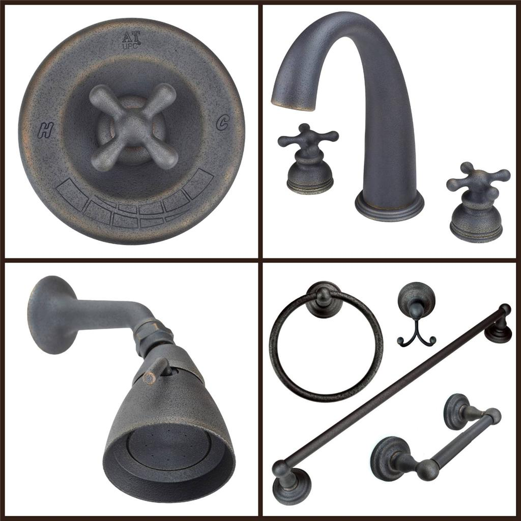 Bathroom Sink And Shower Fixtures: Rustic Oil-Rubbed Bronze Bathroom Sink Faucet, Roman Tub