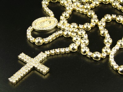 MENS ROSARY YELLOW GOLD FINISH CHAIN SIMULATED DIAMOND NECKLACE 34+8