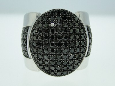 MENS WHITE GOLD FINISH 2.71 CT BIG BLACK DIAMOND RING