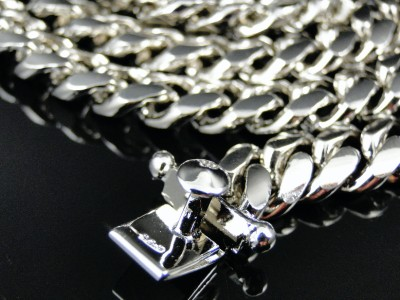 Mens White Gold Finish Sterling Silver Miami Cuban Link