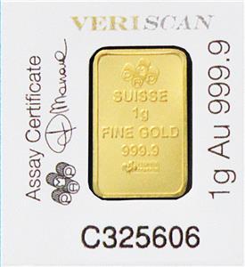 1 Gram 999 9 Pure Solid Fine Gold Bullion Pamp Bar Assay