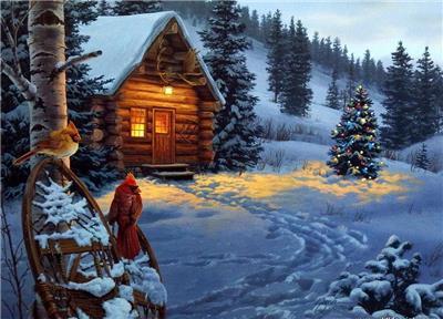 darrell bush winter colors cardinal cabin print 20 x 14 ebay. Black Bedroom Furniture Sets. Home Design Ideas