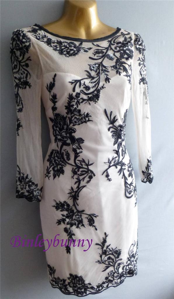 Karen Millen Oriental Embroidered Mesh Dress Bnwt Uk 8 10