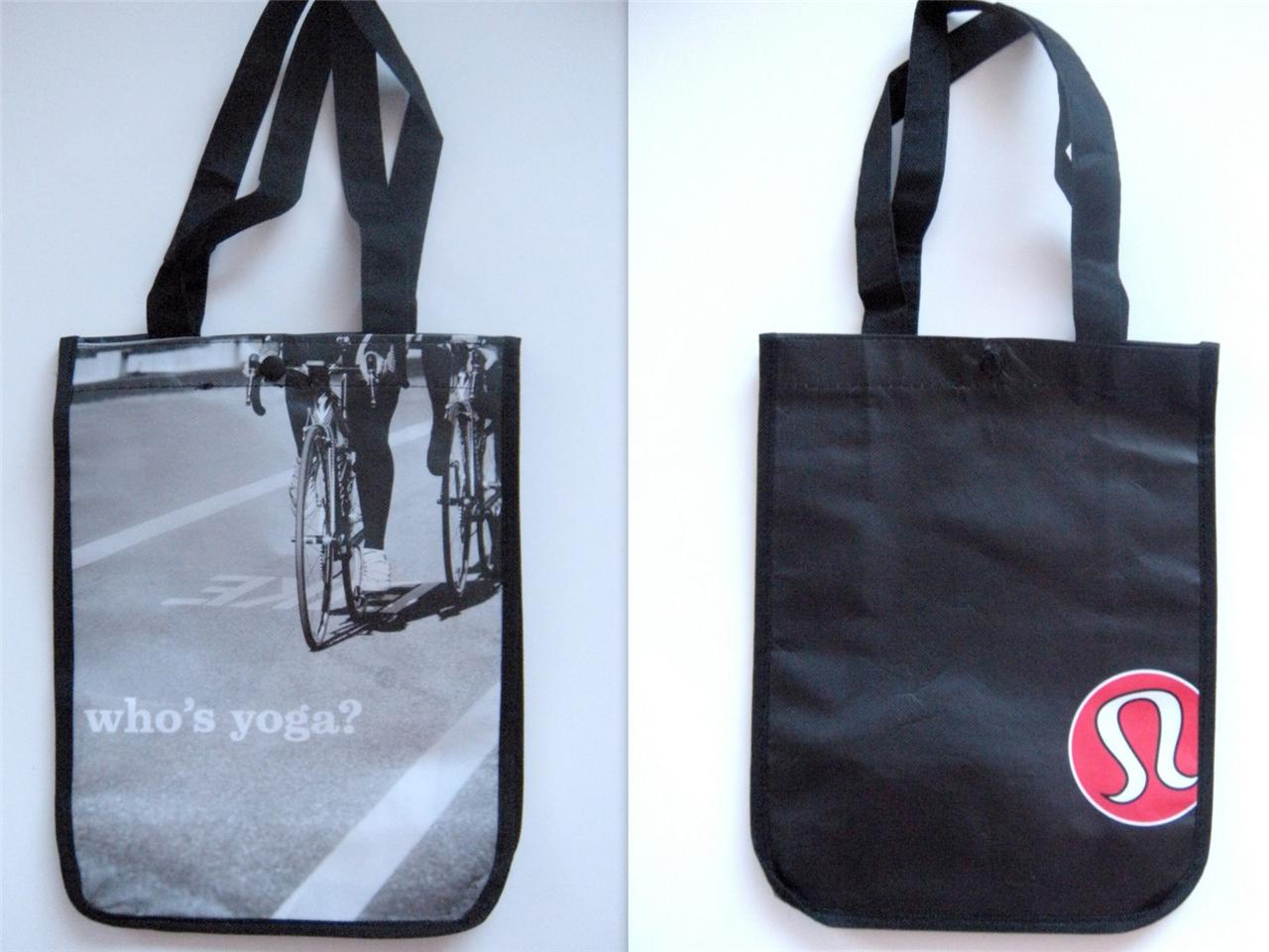 Lululemon Logo Reusable Lung Tote Bags Black Red