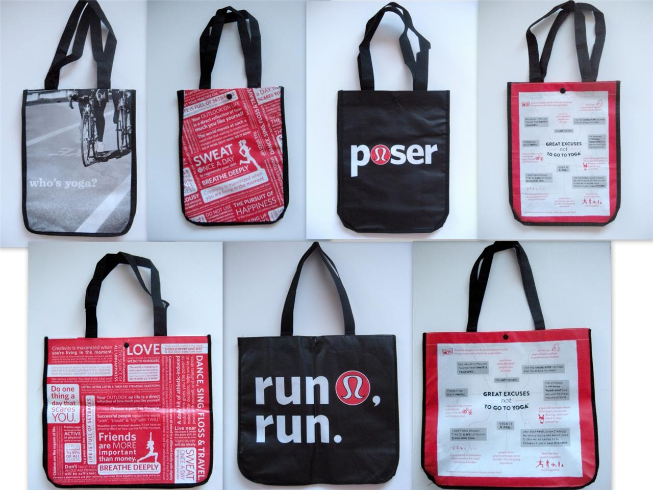 Image Is Loading Lululemon Logo Reusable Lung Tote Bags Black Red