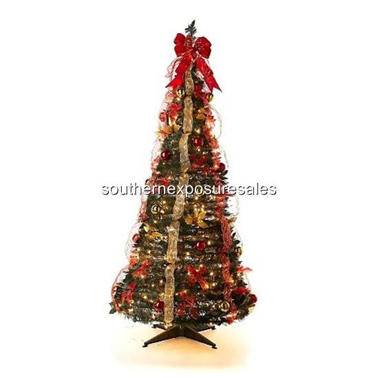Pull Up Decorated Christmas Tree: Winter Lane 6' Pull-Up Fully Decorated Christmas Tree 350
