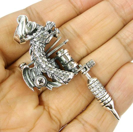 Dragon tattoo machine gun miniature sterling 925 silver pendant ebay shop categories aloadofball Image collections