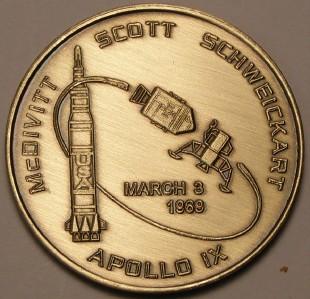 APOLLO 9 NASA SPACE MISSION ANTIQUE BRONZE COIN | eBay