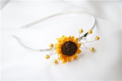 Sunflower Side Tiara Headband Handmade Bride Bridesmaid Prom