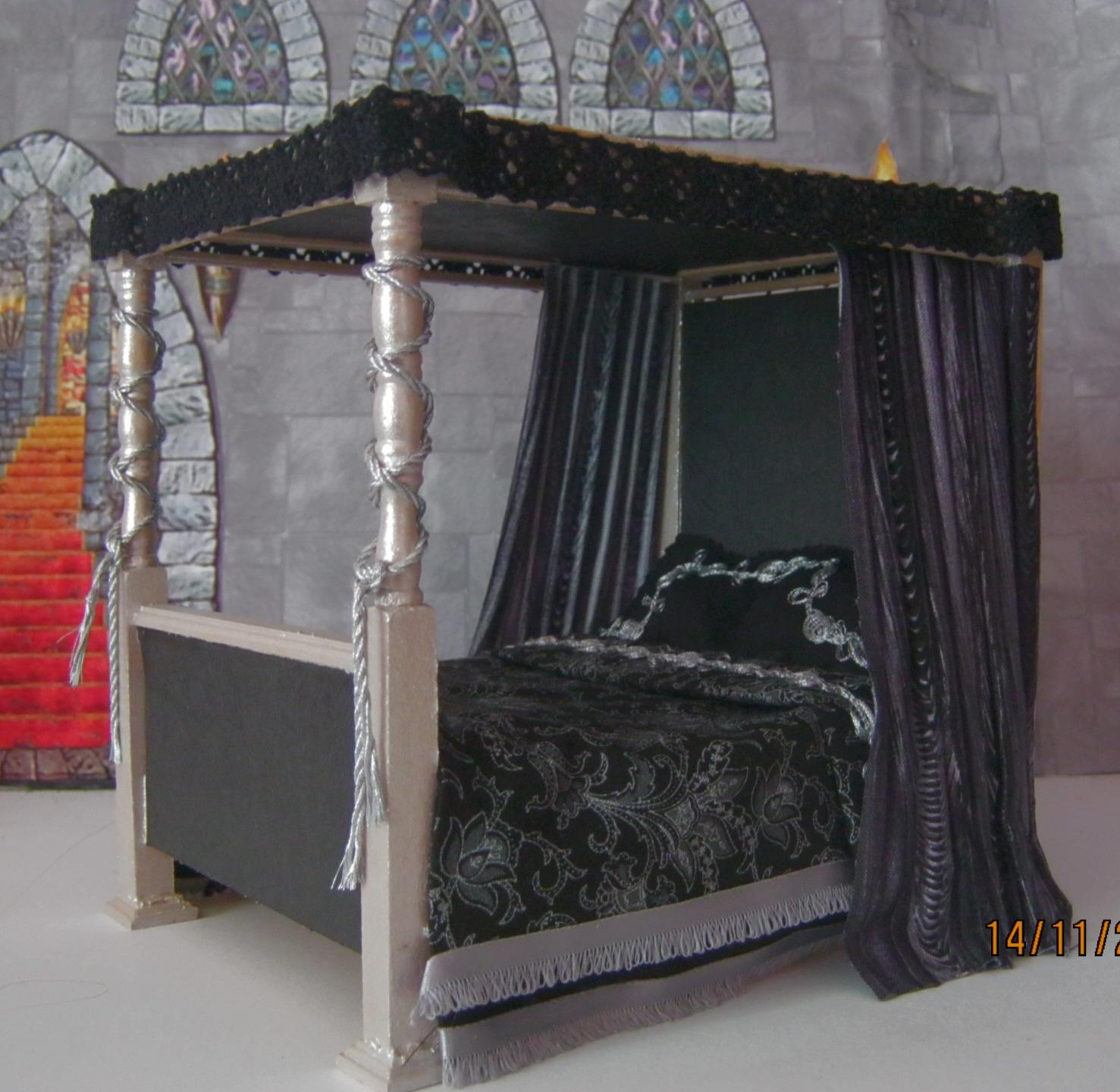 Gothic Bedroom Furniture Black And Silver Bedroom Bedroom Paint Ideas Wallpapers Mink Bedroom Colour Scheme: Doll's House GOTHIC Medieval Witch Tudor 4 POSTER BED