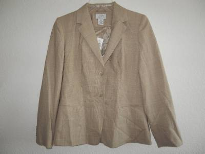 New Women S Ann Taylor Loft Tan Plaid Jacket Pant Suit