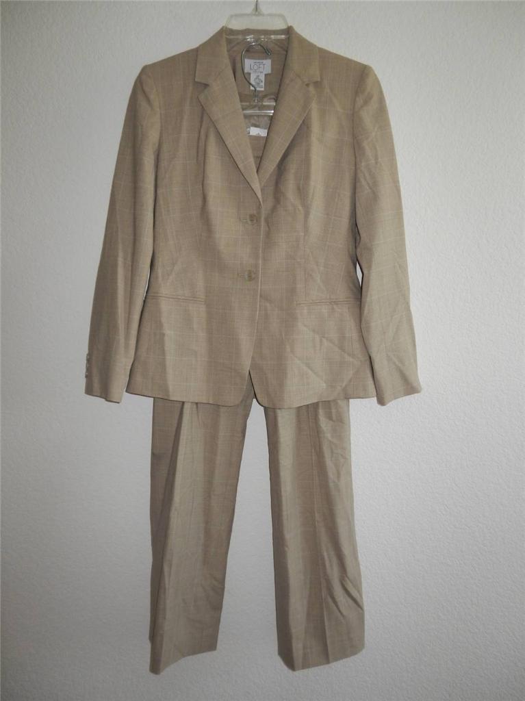 New Women S Ann Taylor Loft Tan Plaid Jacket Pant Suit