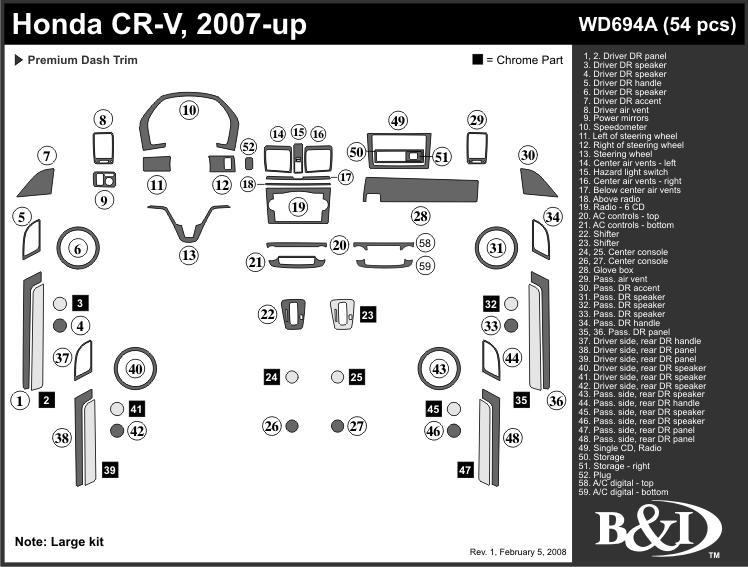 HONDA CRV 07 08 09 WOOD GRAIN DASH KIT TRIM 54 PCS NEW